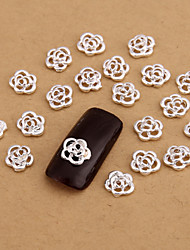 10PCS Silver Nail Art Jewelry Lovely Rose Aryclic Nail Tips Decorations Nail Art Glitters for Nails