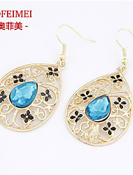 Korean jewelry exaggerated fashion in Europe and America Pierced earrings earrings blue gem droplets temperament