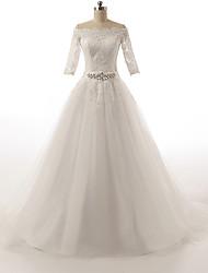 Trapèze Petites Tailles Robe de Mariage  Traîne Tribunal Epaules Dénudées Tulle avec