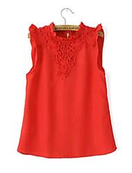 Women's Sexy/Casual Inelastic Sleeveless Regular Blouse Shirt (Chiffon)
