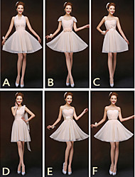 Short / Mini Mix & Match Sets / Lace-up Bridesmaid Dress - Sheath / Column Halter / One Shoulder / Sweetheart / Straps with Sash / Ribbon