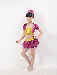 Jazz Performance Outfits Children's Performance Polyester Sequins Outfit Fuchsia/Silver/Yellow Kids Dance Costumes