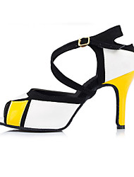 Non Customizable Women's Dance Shoes Latin Flocking Stiletto Heel Yellow