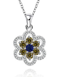 Elegant Style 925 Sterling Silver Jewelry Flower Pave Colorful Zircon Pendant Necklace for Women