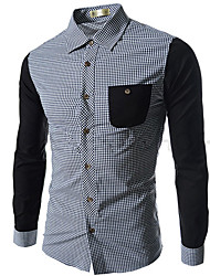 QIDI Men's Newest Contrast Color Simple Causal Check Shirt