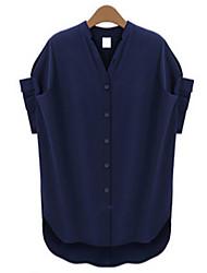 Женский На каждый день Лето Рубашка V-образный вырез,Простое Однотонный Синий С короткими рукавамиСредняя
