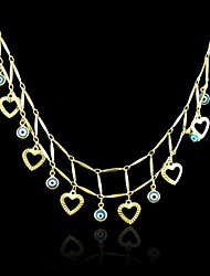 18K Real Gold Plated Heart Evil Eye Pendant Necklace