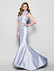Trumpet/Mermaid Plus Sizes / Petite Mother of the Bride Dress - Silver Sweep/Brush Train Sleeveless Taffeta