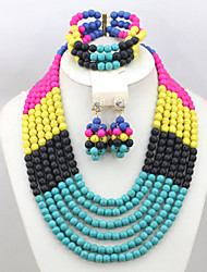 Fashion Multicolor Turquoise Beads African Costume Jewelry Set