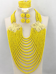 Fabulous Nigerian Wedding African Beads Jewelry Set Indian Bridal Costume Jewelry Set 2015 Hot