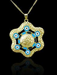 18K Real Gold Plated Allah Muslim Evil Eye Color Pendant 4.5*5.8CM