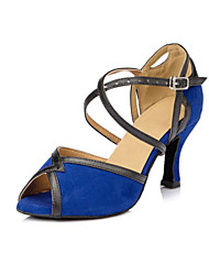 Non Customizable Women's Dance Shoes Latin Flocking Low Heel Blue