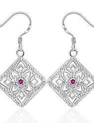Earring Square Jewelry Women Fashion Wedding / Party / Daily / Casual / Sports Silver Plated 1 pair Silver