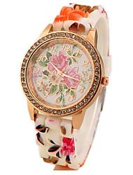 Female flowers rubber band diamond watch