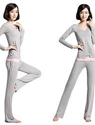 Damen Yoga Anzüge Ärmellos Rasche Trocknung / antistatisch / wicking / Antibakteriell Hellgrau / Schwarz Yoga S / M / L / XL