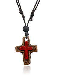 Women's Pendant Necklaces Leather Ceramic Cross Red Jewelry Party Daily Casual 1pc