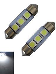 JIAWEN® 2pcs Festoon 36mm 1W 3x5050SMD 60LM 6000-6500K Cool White Reading Light LED Car Light (DC 12V)