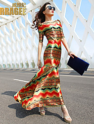 Verragee®2015 Spring and Summer New European and American Big Retro Print Dress Slim Package Hip Fishtail Skirt