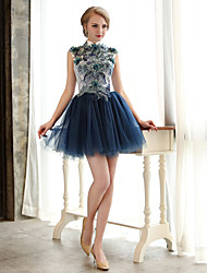 Cocktail Party Dress A-line High Neck Short / Mini Lace / Tulle with Beading / Flower(s) / Sequins