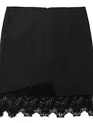 Haocare New Black Straight Faldas Korean Sweet Crochet Tiered Mini Skirt Womens Slim Office Lady Pencil Skirt