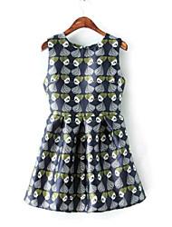 Women's Korea Style Fashion Sleeveless O-Neck Dress
