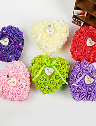 Heart Shape Rose Flower Pearl Ring Box Pillow for Wedding (26*26*13cm) Peacock Wedding