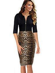Women's Vintage Leopard Print Work  Bodycon Zipper Knee High Dress