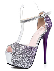 Women's Shoes Glitter Stiletto Heel Heels/Peep Toe/Platform Heels Dress Blue/Purple/Red