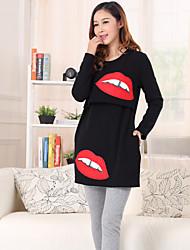 Maternity Fashion Lips Print Bottoming Breast-feeding Blouse