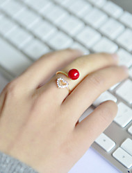 Fashion Women Red Acrylic With Stone Set Heart Open Adjustable Ring