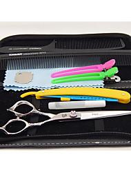 6.0 polegadas tesouras do cabelo punho dragão com dom gratuito: Lâmina&clipe&pente feito de aço inoxidável 440c Hitachi japonês