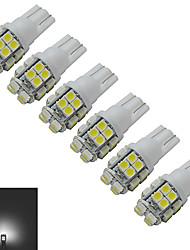 JIAWEN® 6pcs T10 1.2W 20X3528SMD 85LM 6000-6500K Cool White Inverted Side Wedge Light LED Car Lights (DC 12V)