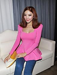 Нио женщин сплошной цвет с длинным рукавом оболочка блузка