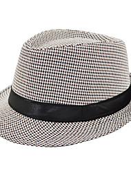 Unisex Houndstooth Pattern Ribbon Fedora Hat