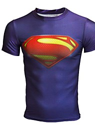 Super Man Blue Color Fitness Tight Fast Drying T-Shirt Male