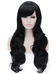 European and American Fashion Black Inclined Bang Curly  Hair Wig