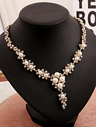 Ladies' Rhinestone Imitation Pearl Necklace