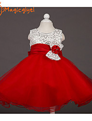 Girl's Summer Sleeveless Sequins Bow Color Match Princess Dress for Wedding Party(Cotton + Mesh)