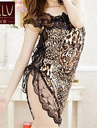 Robe de chambre Ultra Sexy Vêtement de nuit Femme Motif Animal Organza Motif Animal