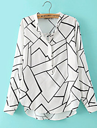 Women's Europe New Fashion Sexy/Casual/Grid Print Inelastic Long Sleeve Regular Shirt Blouse(Cotton)