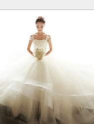Ball Gown Wedding Dress Vintage Inspired Floor-length Off-the-shoulder Organza with Appliques Beading Sash / Ribbon