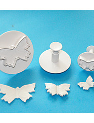 FOUR-C Large Butterfly Plastic Fondant Cake Plunger Cutters,High Quality Cake Decorating Tools Set