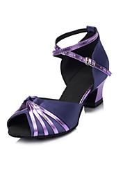 Non Customizable Women's Dance Shoes Latin Satin/Flocking Low Heel