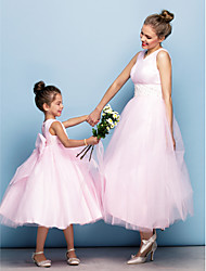 Formal Evening Dress - Blushing Pink Ball Gown V-neck Tea-length Tulle