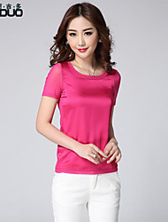 Women's Casual Plus Sizes Stretchy Short Sleeve Silk Satin Tops T-shirt