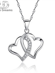 Poetry Dreams Sterling Silver Crossed Hearts Pendant with 18'' Sterling Silver Chain