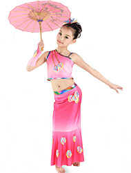 Folk Dance Performance Outfits Children's Performance Polyester Flower Outfit Blue/Fuchsia/Green/Yellow Kids Dance Costumes