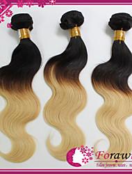 "brasilianische Menschenhaarverlängerungen ombre Haar 1b / 613 leichteste blonde Körperwellen-Menschen Haarwebart 3pcs / lot 12 ""-24"""