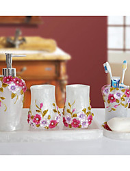 The Gorgeous Manor Empire Pattern Bathroom Ware 5 Sets/White