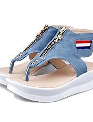 Sandales ( Bleu/Rouge/Bleu marine Spartiates - Hauteur de semelle compensée - Denim - pour FEMMES